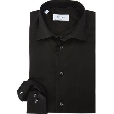 3000 Signature Twill Dress Skjorte Slim | 3000 Signature Twill Dress Skjorte | Sort
