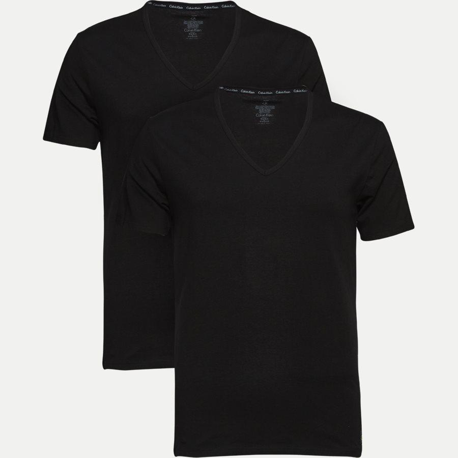 NB1089A 2PACK V NECK - 2-pak V-hals t-shirt - Undertøj - Slim - BLACK - 1