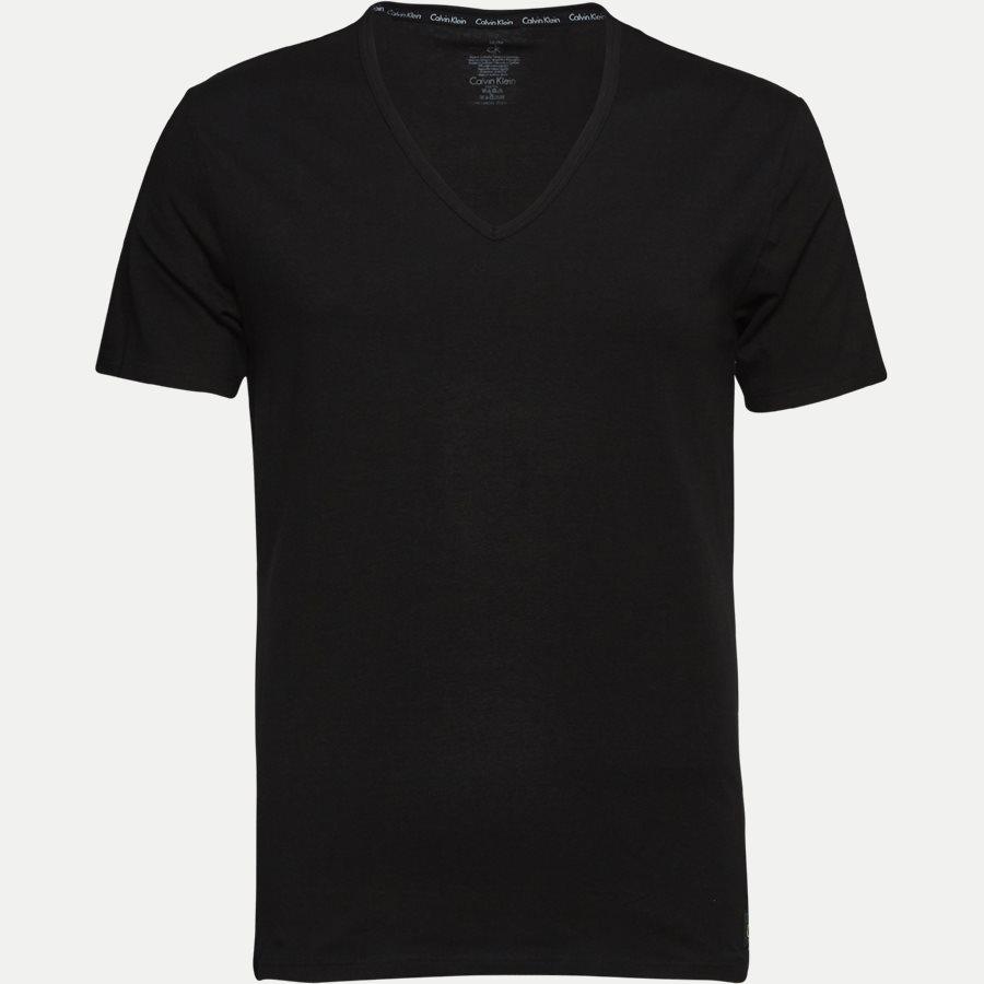 NB1089A 2PACK V NECK - 2-pak V-hals t-shirt - Undertøj - Slim - BLACK - 2