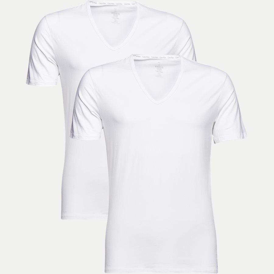 NB1089A 2PACK V NECK - 2-pak V-hals t-shirt - Undertøj - Slim - WHITE - 1