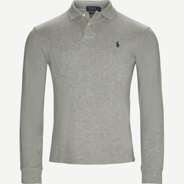 Long Sleeve Pique Polo - T-shirts - Slim - Grå