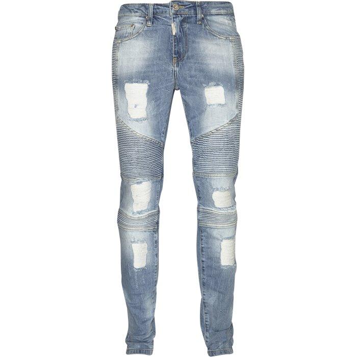 DESTROYED BIKER DENIM - Jeans - Super skinny fit - Blå