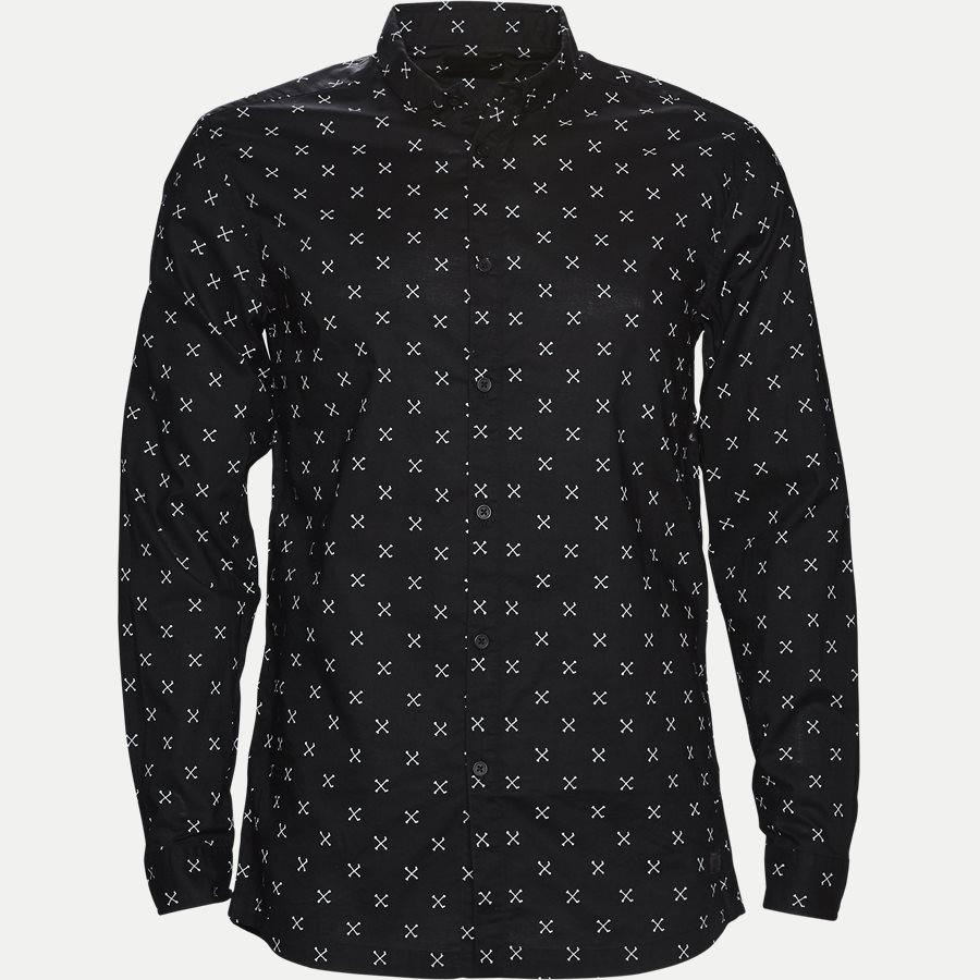 60982 DROOPY PRINT - Regular Skjorte - Skjorter - Regular - SORT - 1
