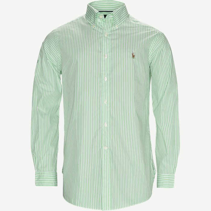 Striped Cotton Shirt - Skjorter - Regular - Grøn