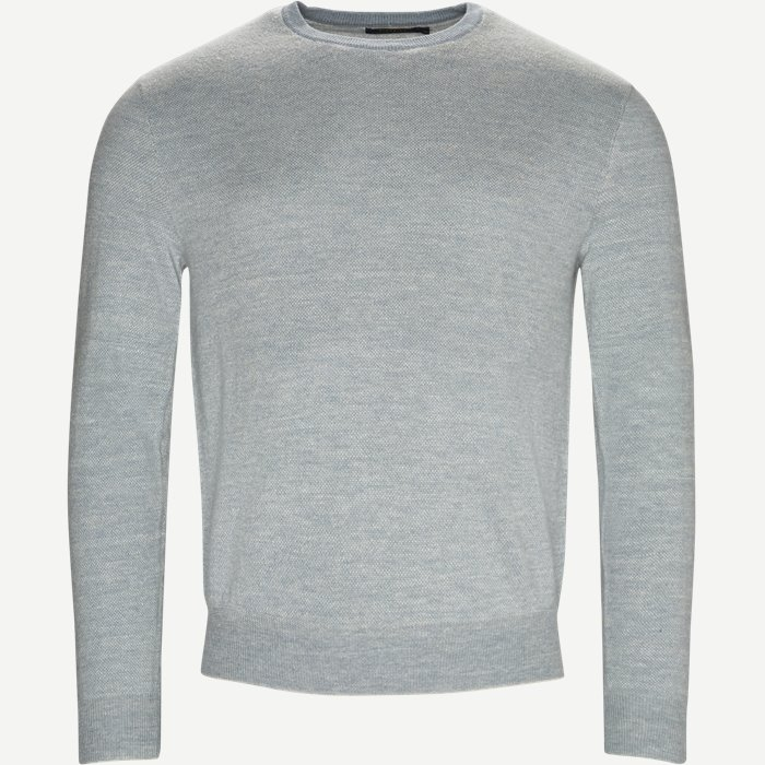 Crewneck knitted jumper - Strik - Regular - Blå