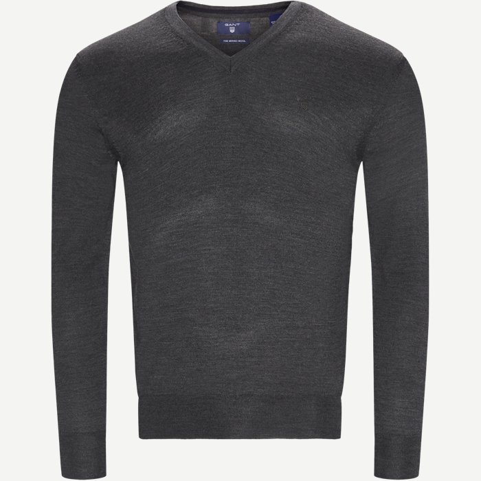 Merino Wool V-neck Sweater - Strik - Regular - Grå