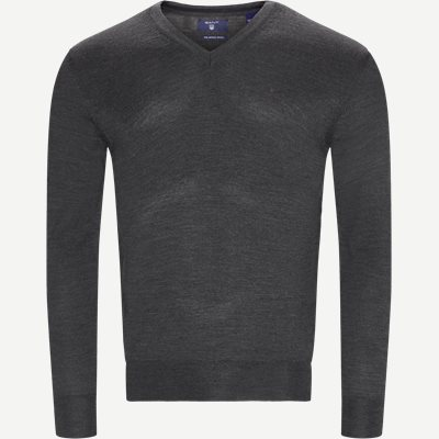 Merino Wool V-neck Sweater Regular | Merino Wool V-neck Sweater | Grå