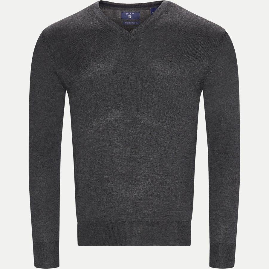 88512 - Merino Wool V-neck Sweater - Strik - Regular - ANTRASITE - 1
