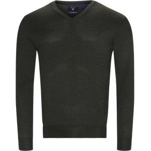 Merino Wool V-neck Sweater Regular   Merino Wool V-neck Sweater   Grøn