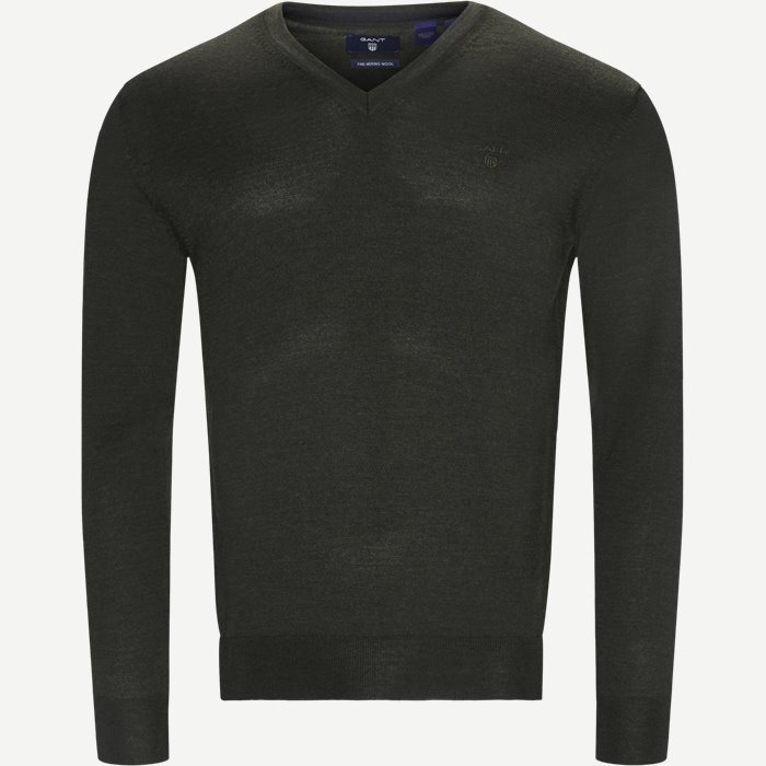 Merino Wool V-neck Sweater - Strik - Regular - Grøn