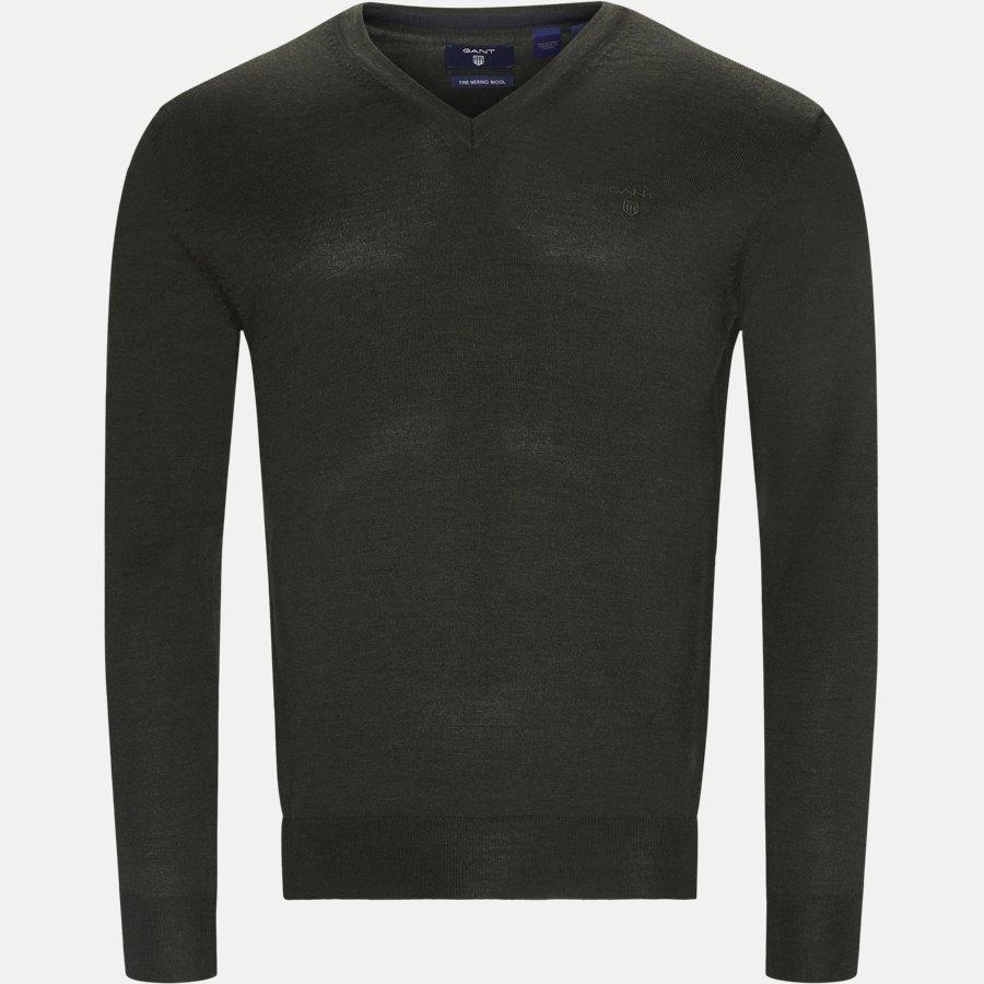 88512 - Merino Wool V-neck Sweater - Strik - Regular - GREEN - 1