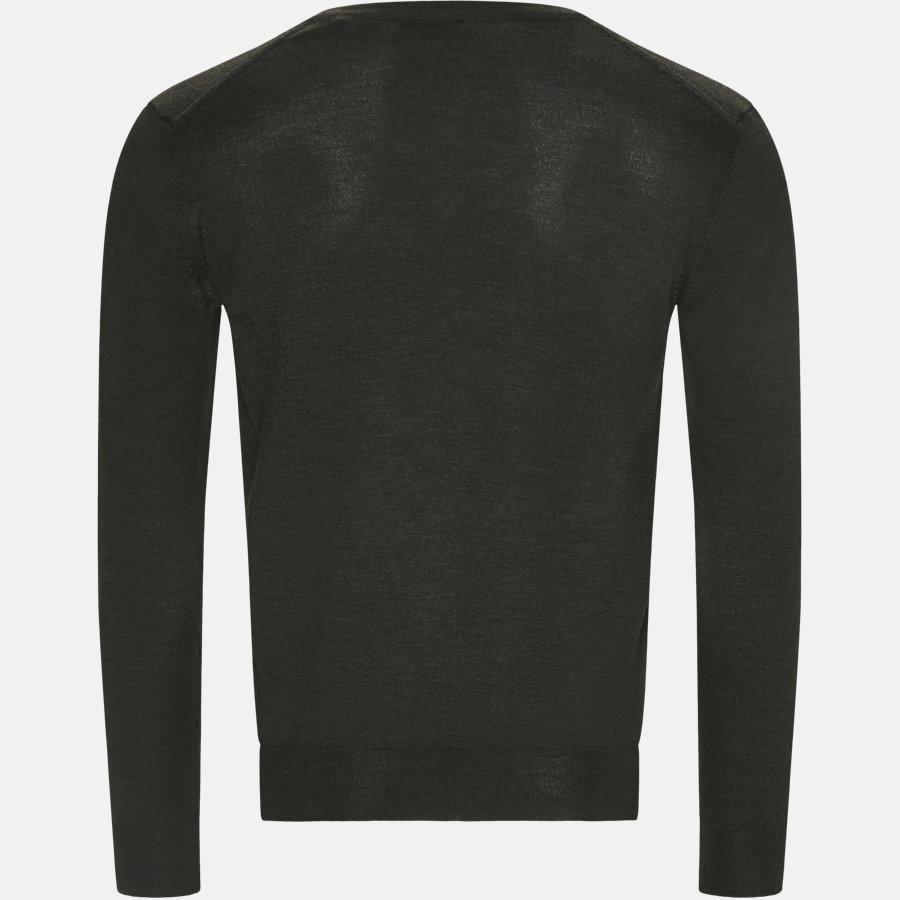 88512 - Merino Wool V-neck Sweater - Strik - Regular - GREEN - 2