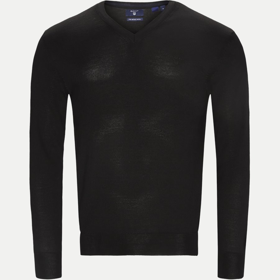 88512 - Merino Wool V-neck Sweater - Strik - Regular - SORT - 1