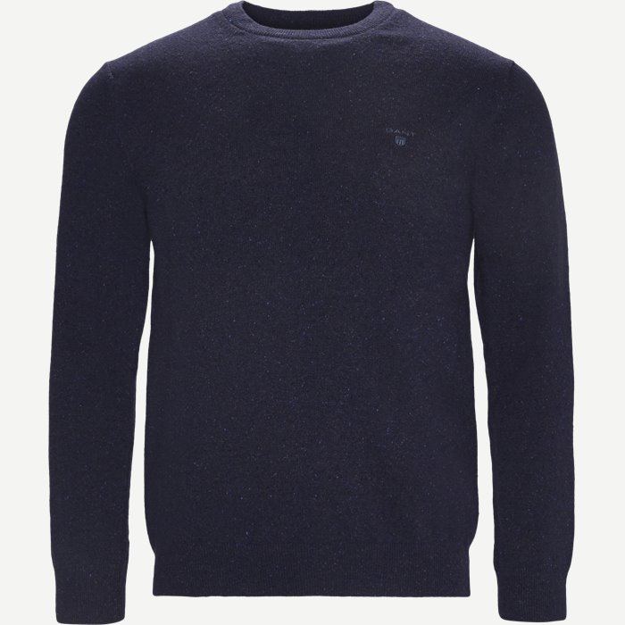 Donegal Tweed Crew Neck Sweater - Strik - Regular - Blå