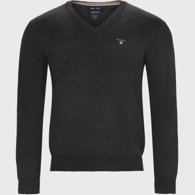 Cotton Wool Blend V-Neck Jumper Regular | Cotton Wool Blend V-Neck Jumper | Grå
