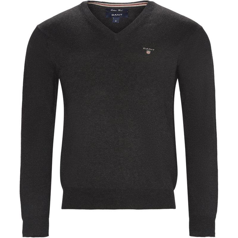 Gant - cotton wool blend v-neck jumper fra gant fra kaufmann.dk