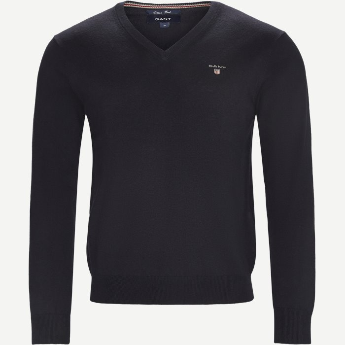 Cotton Wool Blend V-Neck Jumper - Strik - Regular - Blå