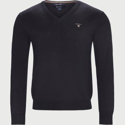 Cotton Wool Blend V-Neck Jumper Regular | Cotton Wool Blend V-Neck Jumper | Blå