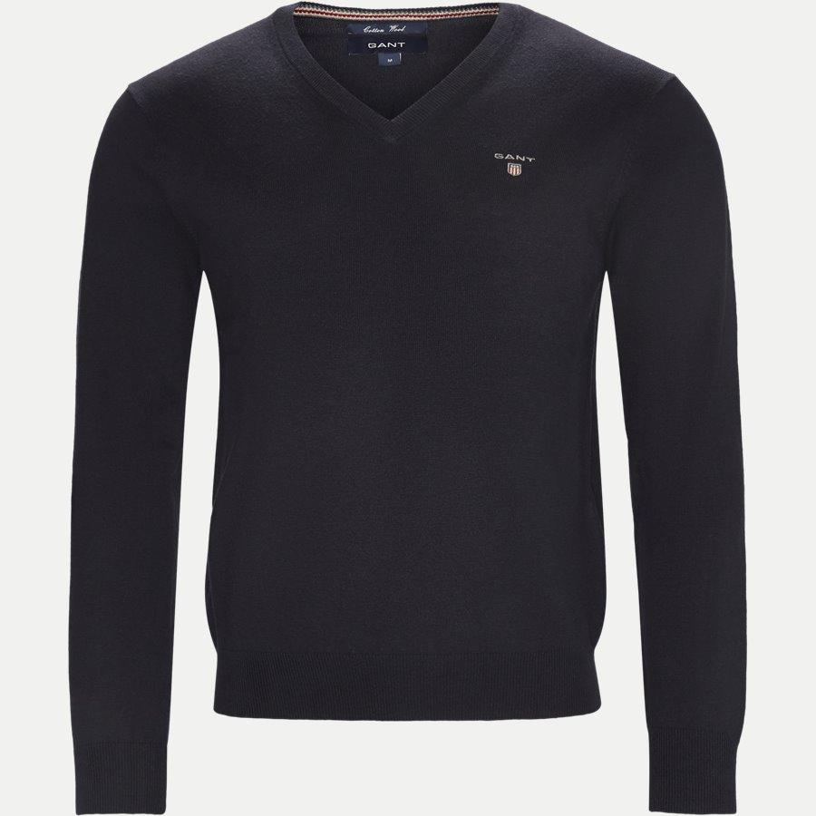 83102 V-NECK - Cotton Wool Blend V-Neck Jumper - Strik - Regular - NAVY - 1