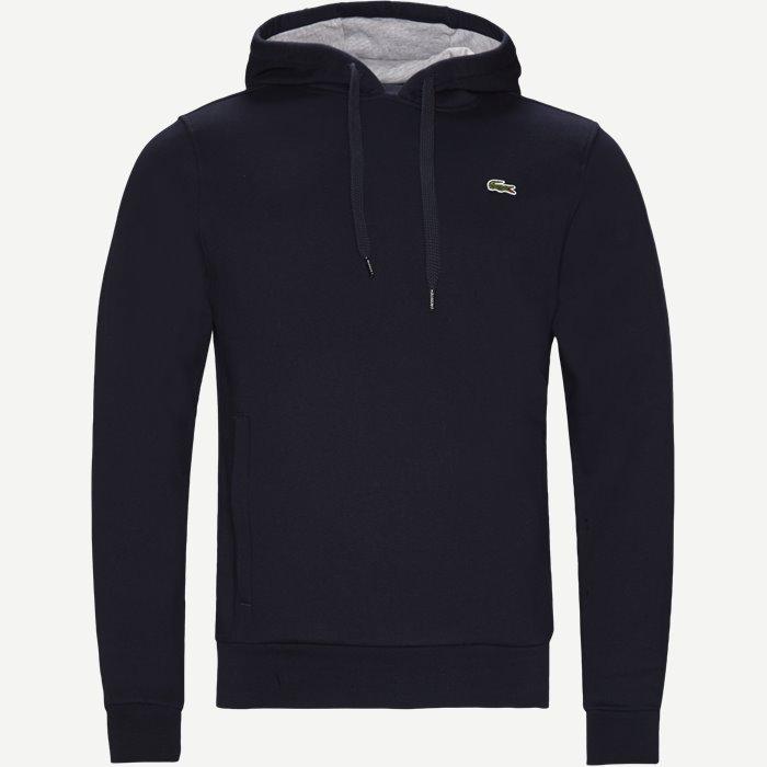 Hooded Fleece Tennis Sweatshirt - Sweatshirts - Regular - Blå