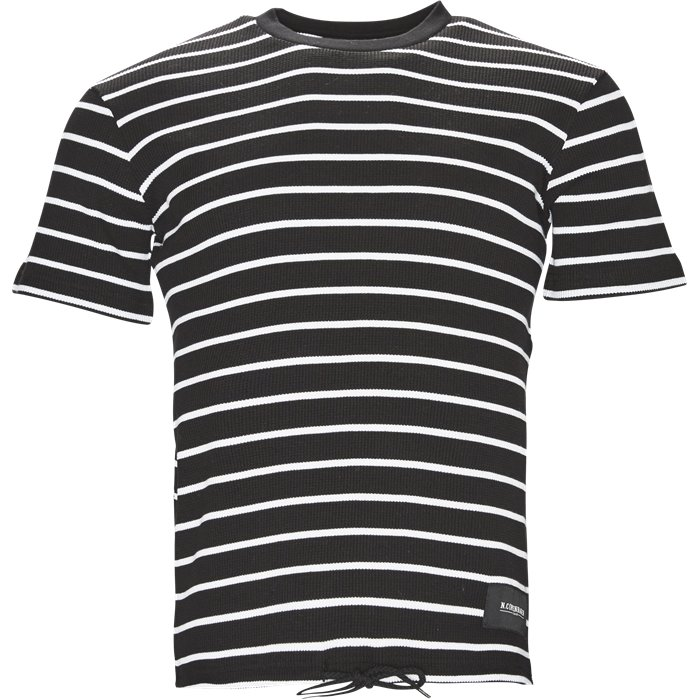 Striped Waffle Tee - T-shirts - Regular - Sort