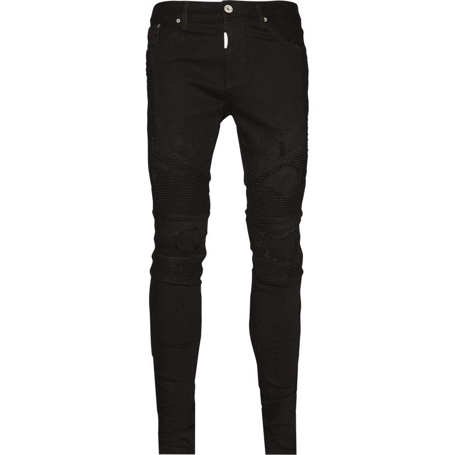 KNEE BIKER DENIM - Jeans - Regular - SORT - 1