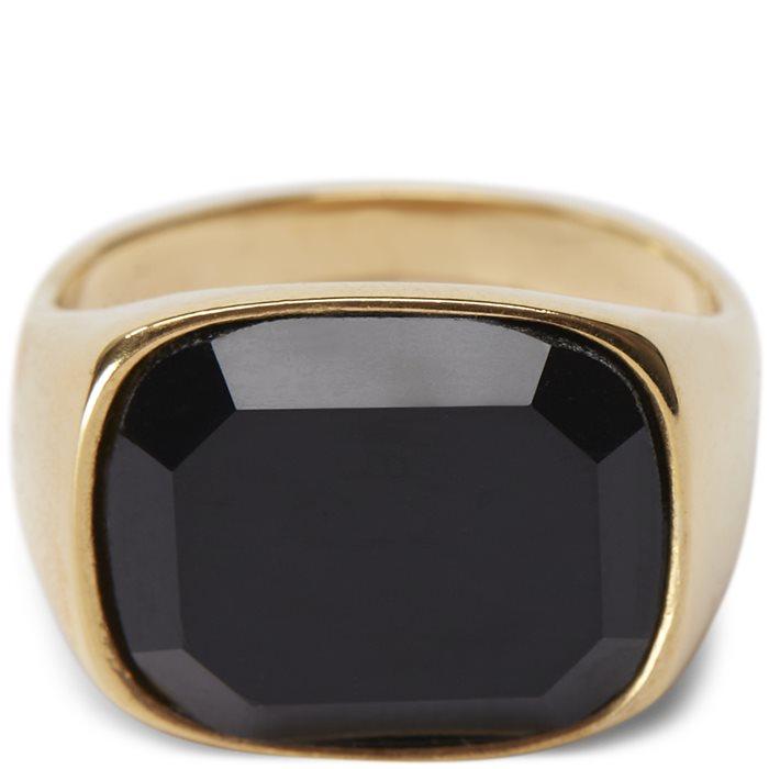 Square Black Stone ring - Accessories - Guld
