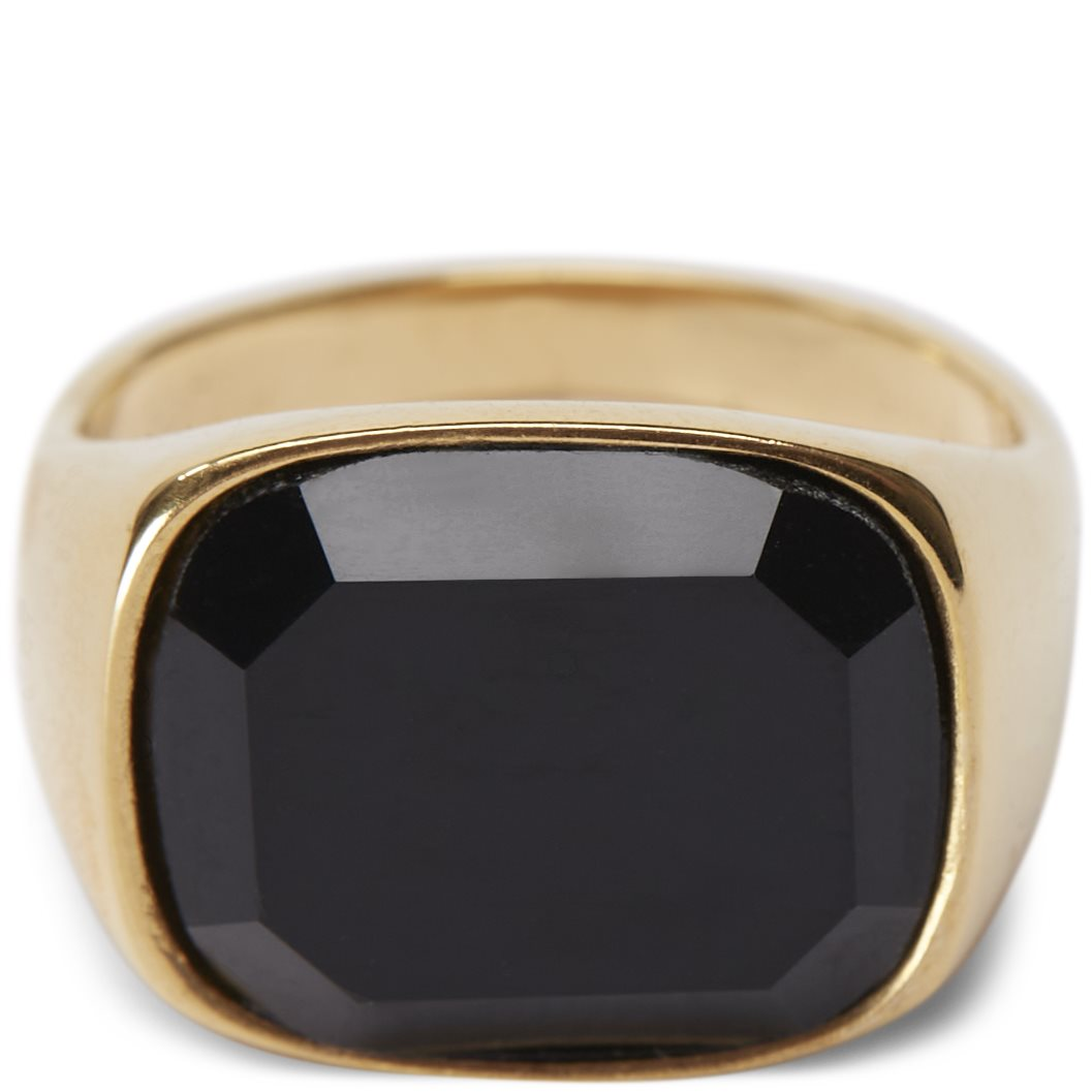 Square Black Stone ring - Accessories - Guld