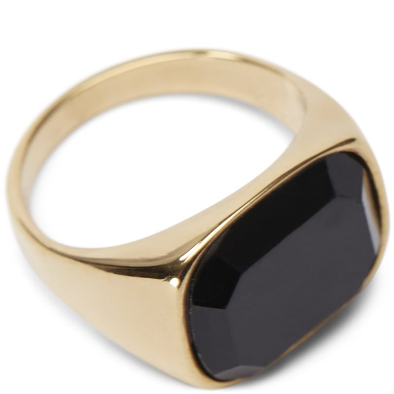 Image of   A.kjærbede Square Black Stone Ring Guld