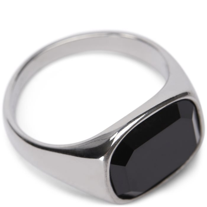 Square Black Stone ring - Accessories - Grå