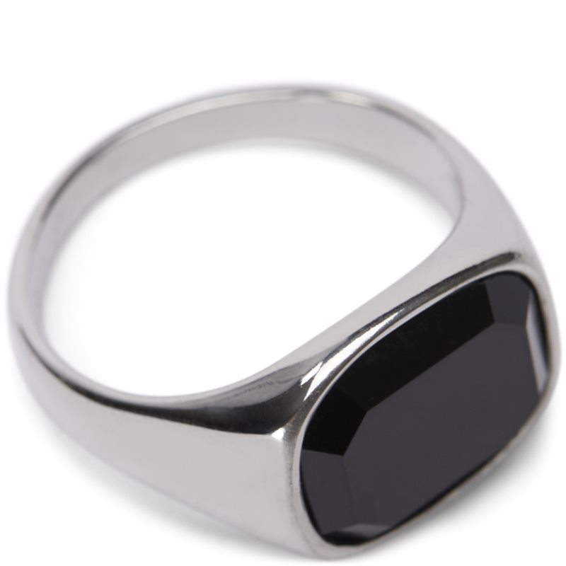 Image of   A.kjærbede Square Black Stone Ring Sølv
