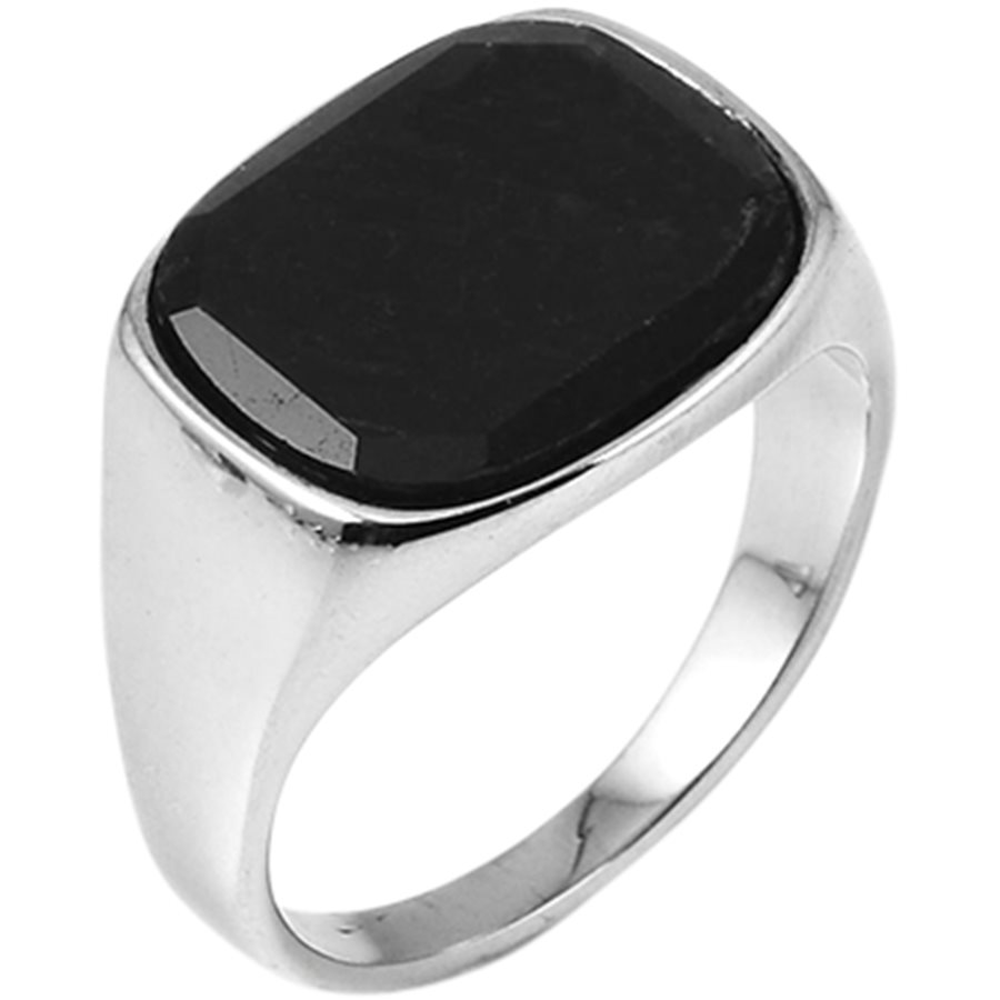 SQUARE BLACK STONE - Square Black Stone ring - Accessories - SØLV - 2
