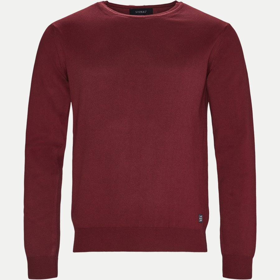 12195 645 - Crew Neck Strik - Strik - Regular - BORDEAUX - 1