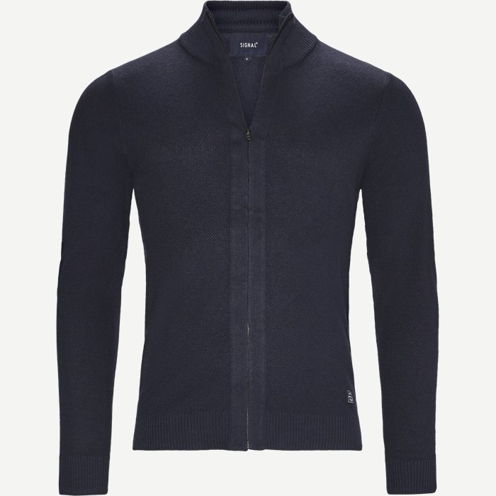 Kato Full Zip Cardigan - Strik - Regular - Blå