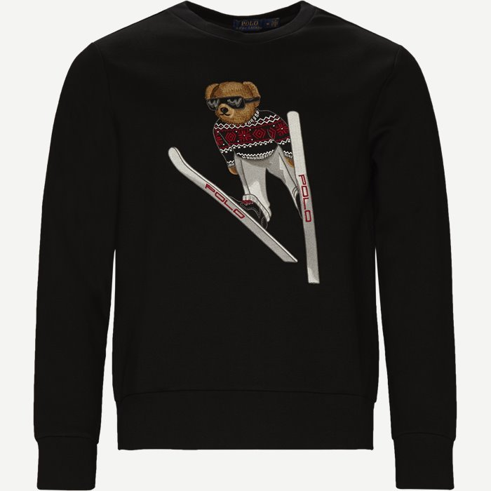 Ski Jumping Bear Crew Neck Sweatshirt - Sweatshirts - Regular - Sort