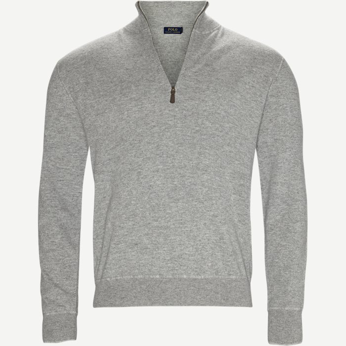 Half zip Cashmere Knit - Strik - Regular - Grå