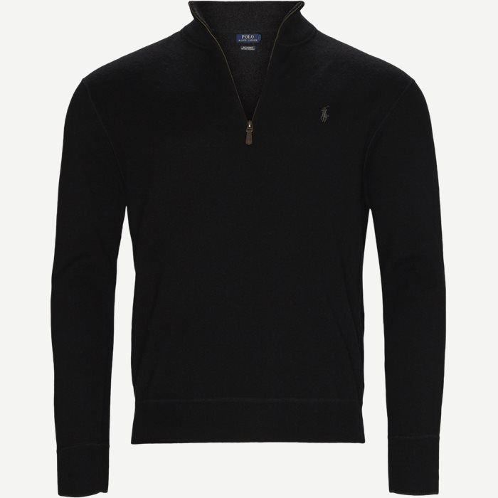 Half zip Cashmere Knit - Strik - Regular - Sort