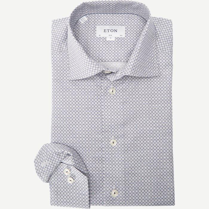 3363 Blomstret Signature Twill Skjorte - Skjorter - Blå