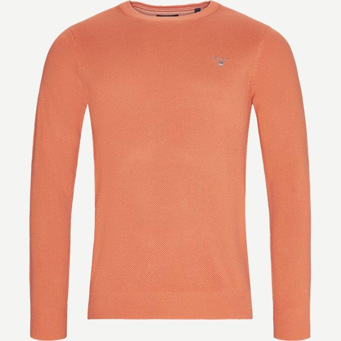 Pique Crew Sweater - Strik - Regular - Rød