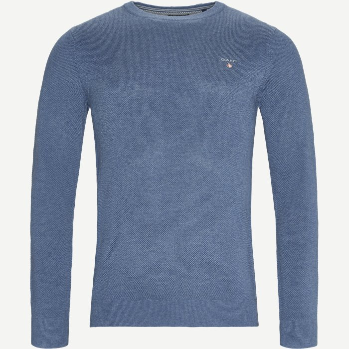 Pique Crew Sweater - Strik - Regular - Denim