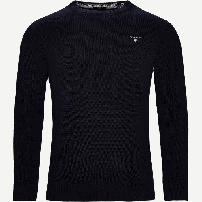 Pique Crew Sweater - Strik - Regular - Blå