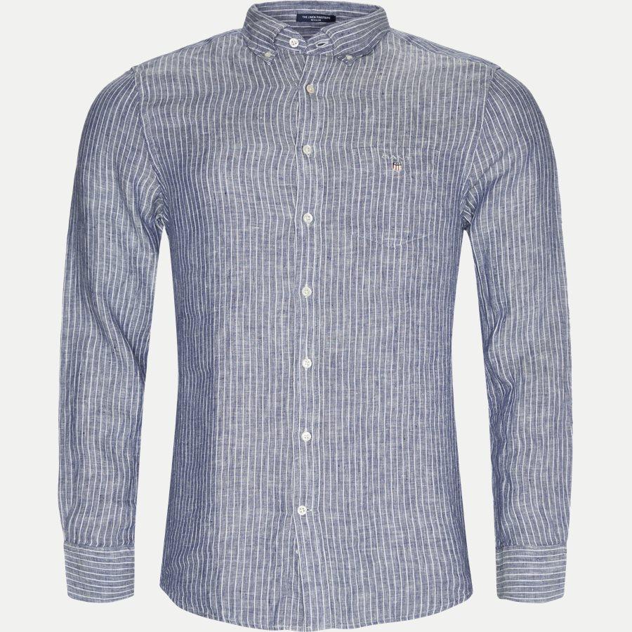 3040720 - Linen Pinstripe Skjorte - Skjorter - Regular - BLÅ - 1