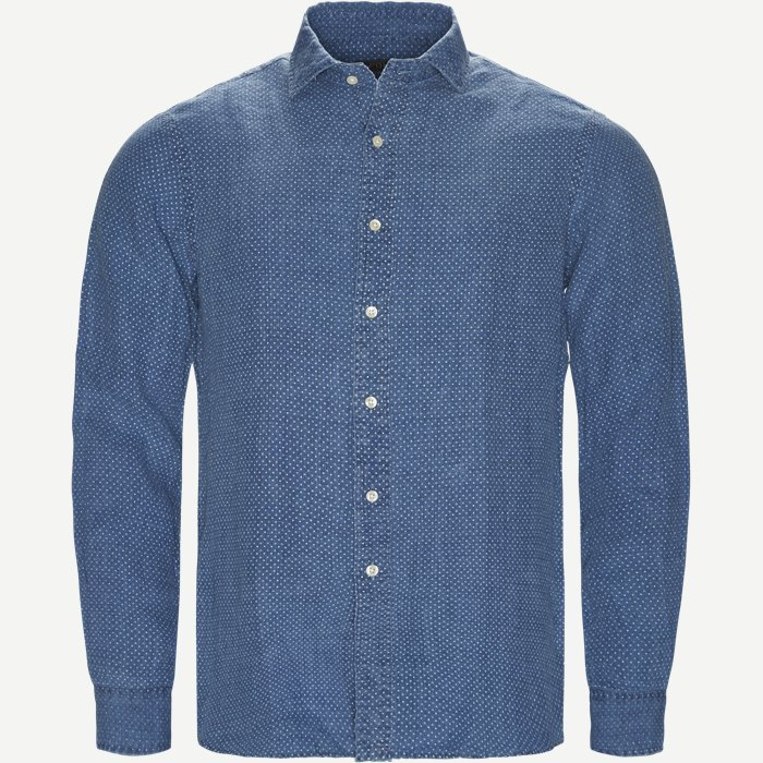 Linen Check Shirt - Skjorter - Regular - Denim