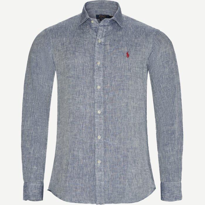 Linen Shirt - Skjorter - Slim - Blå