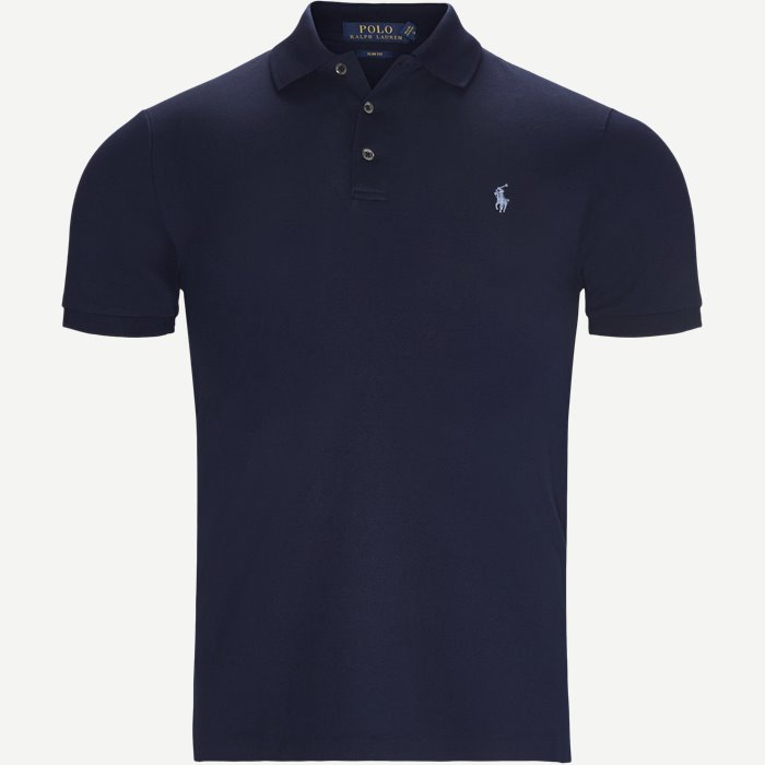 Short Sleeve Pique Polo - T-shirts - Slim - Blå