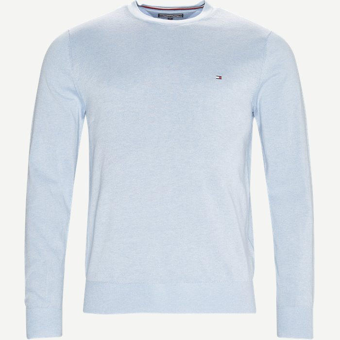 Cotton Silk Crew Neck Strik - Strik - Regular - Blå