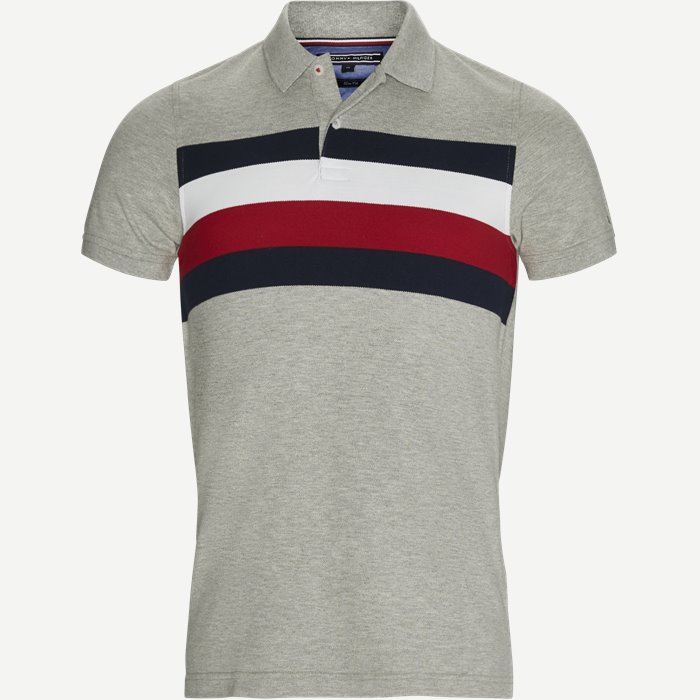 Chest Stripe Polo T-shirt - T-shirts - Slim - Grå