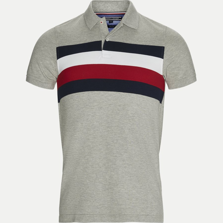 af7f4cdc TOMMY CHEST STRIPE - T-shirts - Slim - GRÅ - 1. Tommy Hilfiger