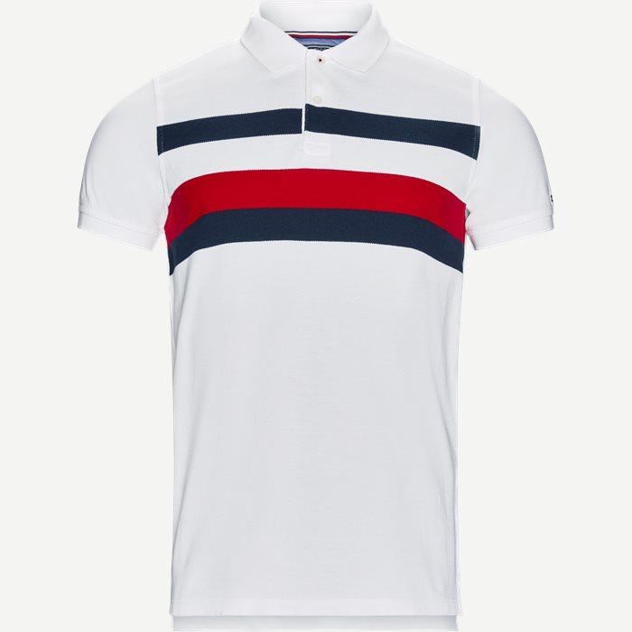 Chest Stripe Polo T-shirt - T-shirts - Slim - Hvid