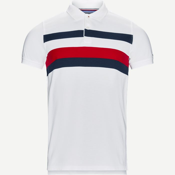 Chest Stripe Polo T-shirt - T-shirts - Slim - Hvid
